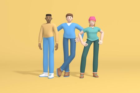 3d rendering group portrait of three people: multinational guys and a girl, students, schoolchildren, businessmen on a yellow background. Abstract minimal trendy cartoon disproportionate body man concept.