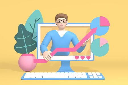 3D rendering character financial blogger channel. A cartoon man in the monitor shows a graph rising. Abstract minimal internet business concept.