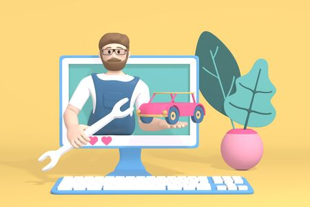 3D rendering character car blogger channel. A cartoon man in the monitor shows a transport and a tool. Abstract minimal concept of repair, service, advice, training.