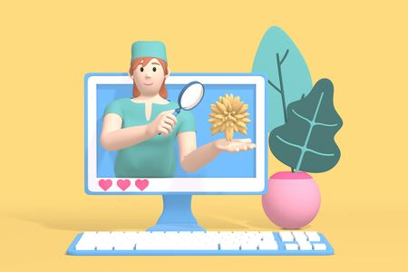 3D rendering character blogger channel medicine and science. A cartoon woman doctor, scientist in the monitor shows a virus, a bacterium. Abstract minimal concept of health, science, research, laboratory, training.