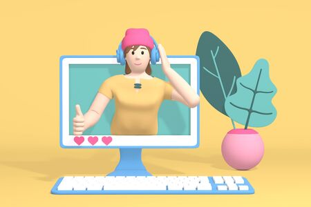 3D rendering character blogger channel music. Cartoon happy hipster girl in a hat and headphones in the monitor listens to music. Abstract minimal concept music fan, musician, dj, training.