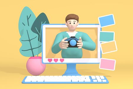 3D rendering character blogger channel photo. Cartoon happy young white guy in the monitor shows the camera and pictures. Abstract minimal concept photography, travel, learning. Stock Photo
