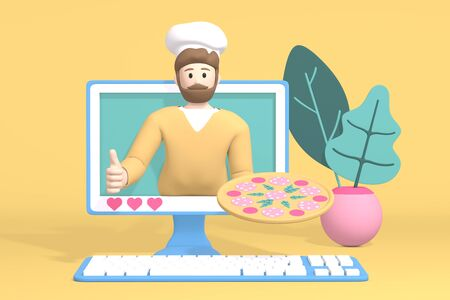 3D rendering character blogger channel photo. Cartoon guy, a man in a cook hat in the monitor shows pizza. Abstract minimal concept recipe, dish, healthy food, cooking, learning.