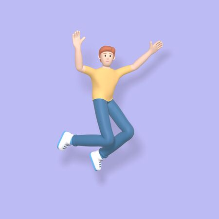 3D rendering character a young, happy, cheerful guy jumping and dancing on a purple background. Abstract minimal concept youth, college, school, happiness, success, victory.