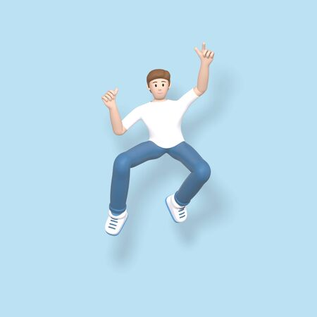 3D rendering character a young, happy, cheerful guy jumping and dancing on a blue background. Abstract minimal concept youth, college, school, happiness, success, victory.