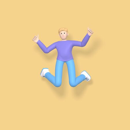 3D rendering character a young, happy, cheerful guy jumping and dancing on a yellow background. Abstract minimal concept youth, college, school, happiness, success, victory. Stock Photo