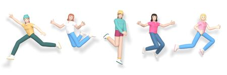 3D rendering set of a young, happy, cheerful girl character jumping and dancing isolate on a white background. Abstract minimal concept youth, teamwork, happiness, success, victory.