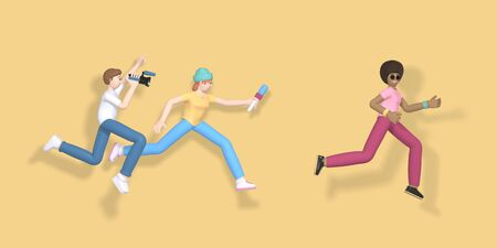 3D rendering character a guy with a video camera and a girl with a microphone are running after a celebrity. Abstract minimal concept. News gathering, sensation search, journalist, reporter.