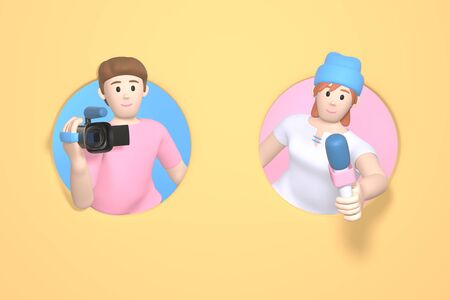 3D rendering character a guy with a video camera and a girl with a microphone. Abstract minimal concept. News gathering, sensation search, journalist, reporter.