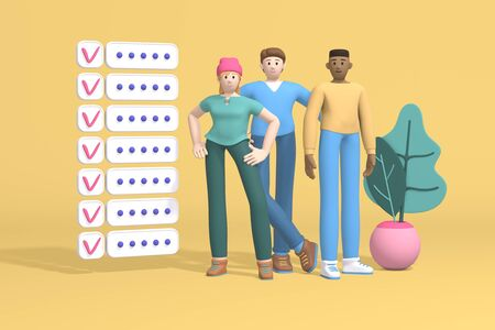 3D rendering characters young guys and a girl near a blackboard with stickers organization of work. Abstract minimal concept of time management, teamwork, startup, briefing, planning. Stock Photo