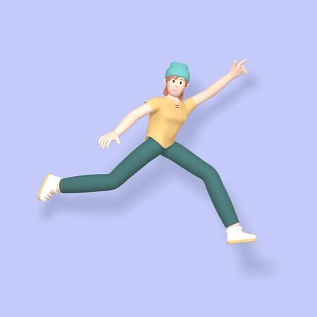3D rendering character a young, happy, cheerful girl hipster in a hat jumping and dancing on a purple background. Abstract minimal concept youth, college, school, happiness, success, victory. Stock Photo