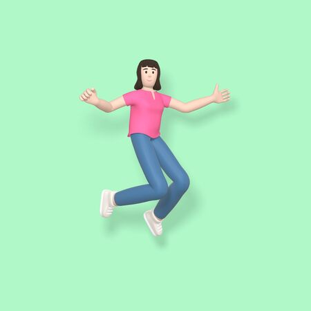 3D rendering character a young, happy, cheerful girl jumping and dancing on a green background. Abstract minimal concept youth, college, school, happiness, success, victory. Stock Photo