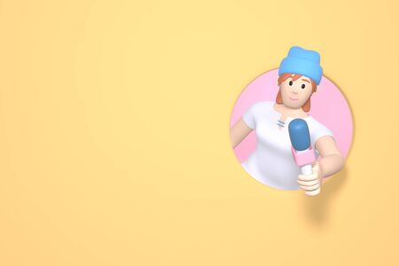 3D rendering character girl girl in a hipster hat with a microphone on a yellow background. Abstract minimal concept. News gathering, sensation search, journalist, reporter. Stock Photo