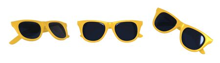 3D rendering set of yellow sunglasses minimalism in a cartoon style. Template for design isolated on a white background.