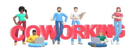 Group of young multiethnic successful people with laptop, tablet, phone and word coworking on white background. Horizontal banner cartoon character and text website slogan. 3D rendering. 版權商用圖片