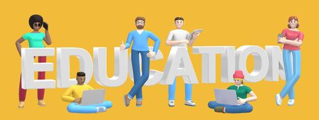 Word education on yellow background. Group of young multicultural successful people with laptop, tablet, phone. Horizontal banner cartoon character and website slogan. 3D rendering.