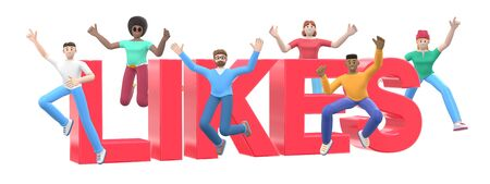 The word likes on a white background. Group of young multicultural happy people jump and dance together. Horizontal banner cartoon character and website slogan. 3D rendering.