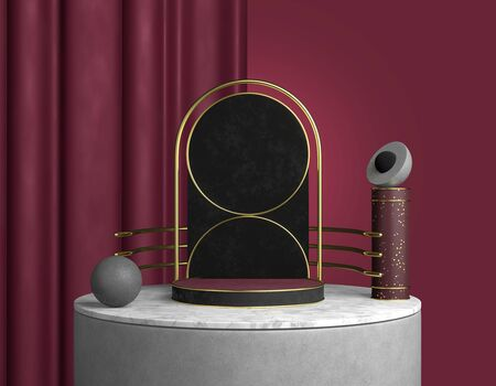 3D rendering abstract product showcase. Black marble podium with steps on a white base, arch scene of promotion of goods with gold railings on a background red curtains. Premium geometric template.