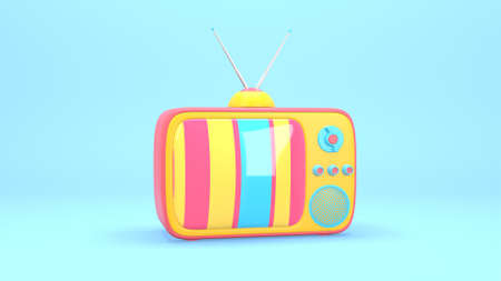 3D rendering abstract animation of a vintage TV with a bright color screen, noise, distortion. Unusual funny joke pop art cartoon style.