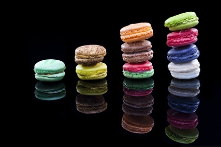 confiserie: close up shot of various kind of fresh macaroon arrangement    Please see some similar pictures from my portfolio  Stock Photo