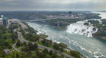 Niagara waterfalls,Ontario, Canada,Niagara Falls aerial view from Skylon Tower platforms photo