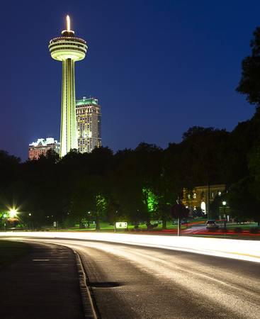 Skylon Tower in Niagara Falls, Ontario, at night