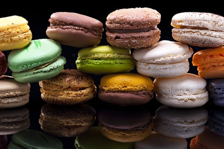 close up shot of various kind of fresh macaroons arrangement   Stock Photo