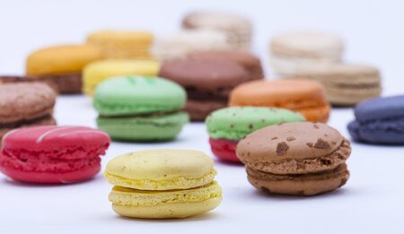 close up shot of various kind of fresh macaroons arrangement  Stock Photo - 16974918