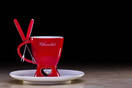 Chocolate fondue set for desktop publishing  You can also include the logo of your client  Stock Photo