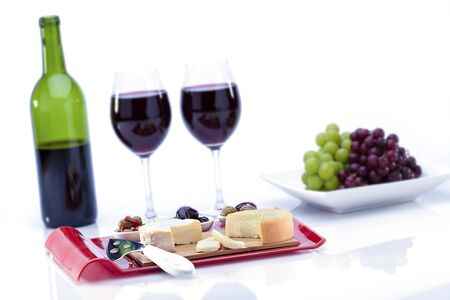 wine tasting and cheese on white background photo