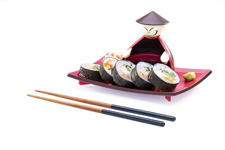 Sushi kit with ginger, soya sauce and chopsticks