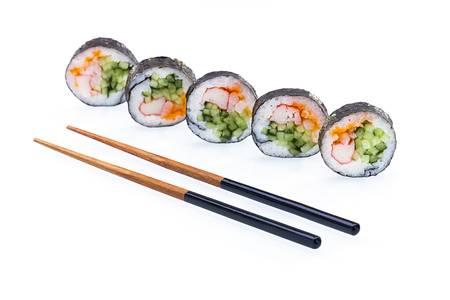 Sushi  with chopsticks on white background
