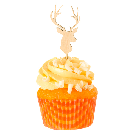 Christmas cupcake with topper, isolated on white background