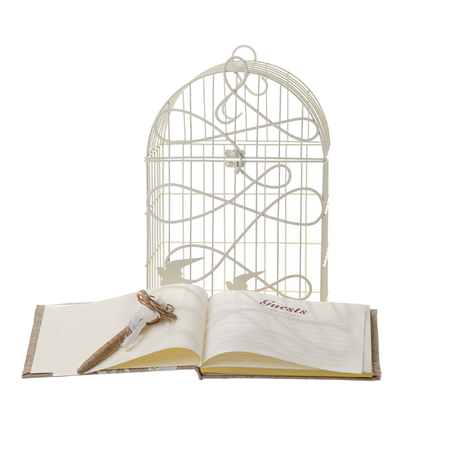 ruled: Wedding guests book and cage Stock Photo