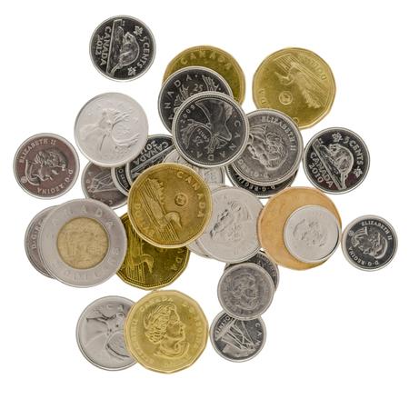 Canadese munten op witte achtergrond