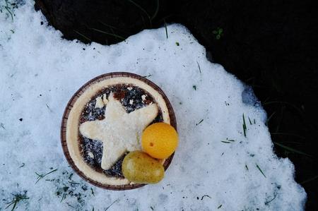 carne picada: pastel de carne con frutas de mazap�n Foto de archivo