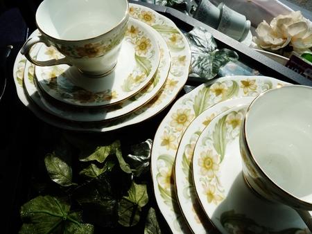 saucers: teacups and saucers displayed