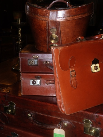 satchel: leather satchel and hat box Stock Photo