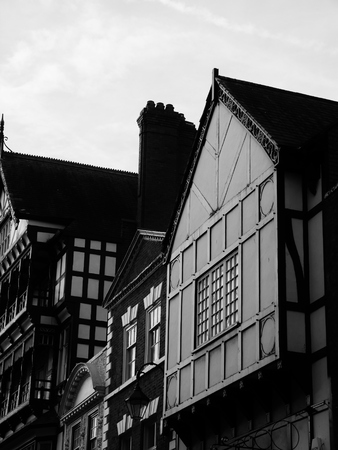 tudor: three chester buildings timber brick tudor style