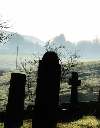 black shadows: gravestones with mist black shadows