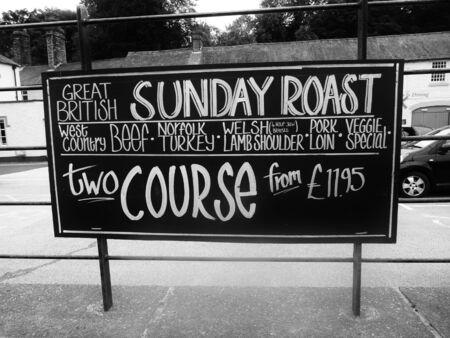 english culture: sunday roast sign advertising