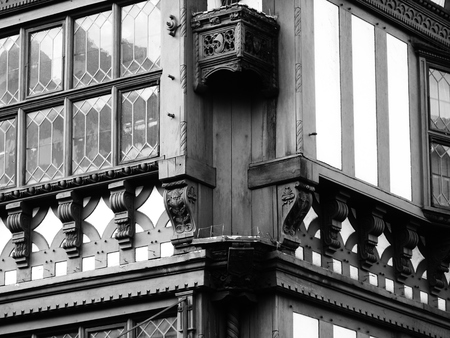 tudor: corner of a chester tudor style building historic