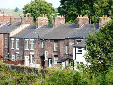 terrace houses cheshire in a row Stock Photo