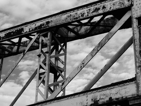 metal structure: rusted metal structure against sky Stock Photo