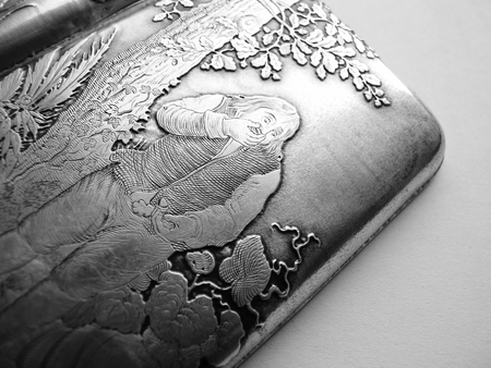 cigarette case: engraved ornate antique 1800s sterling cigarette case