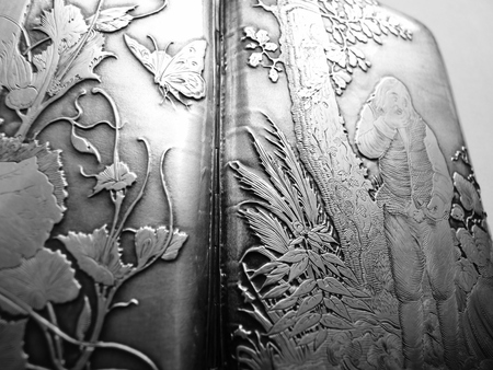 sterling: sterling silver ornate luxury engraved cigarette case 1800s Stock Photo