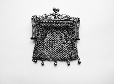 weave ball: french sterling silver mistletoe purse antique