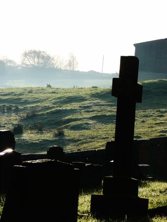 headstones: graveyard full of mist and headstones
