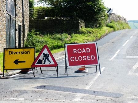 diversion: roadworks signs closed diversion road