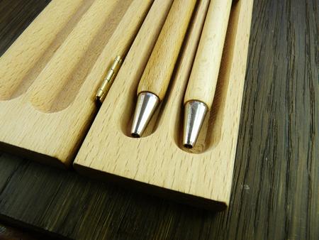 wooden pens in wooden presentation case